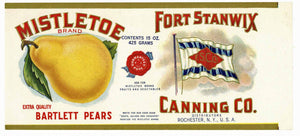 Mistletoe Brand Vintage Fort Stanwix Pear Can Label