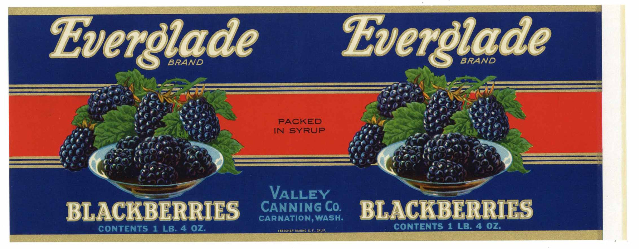 Everglade Brand Vintage Carnation Washington Berry Can Label