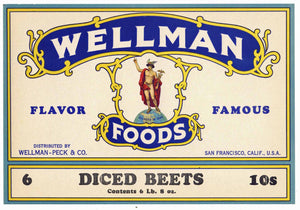 Wellman Brand Vintage Wellman-Peck Co Can Label