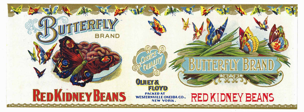 Butterfly Brand Vintage New York Kidney Bean Can Label