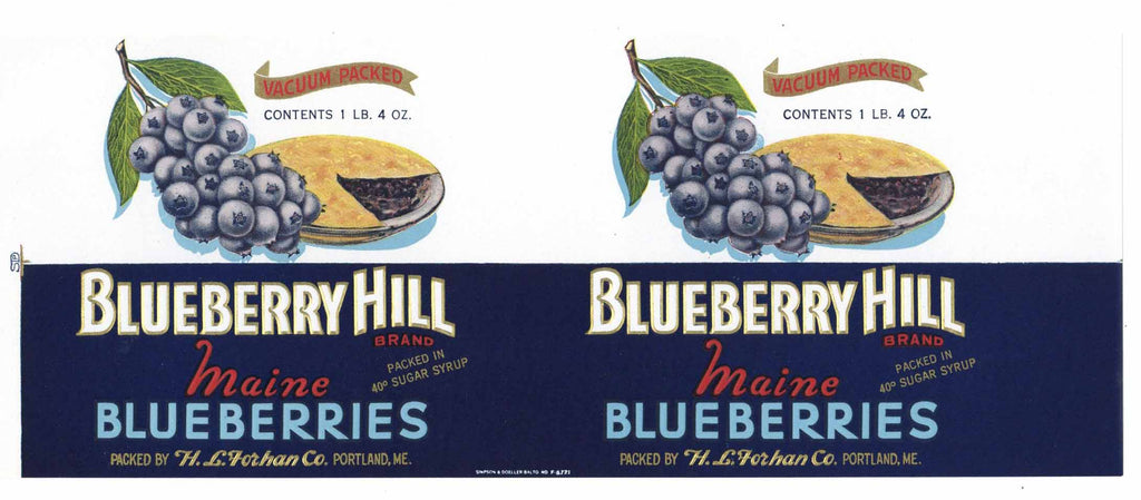 Blueberry Hill Brand Vintage Portland, Maine Can Label