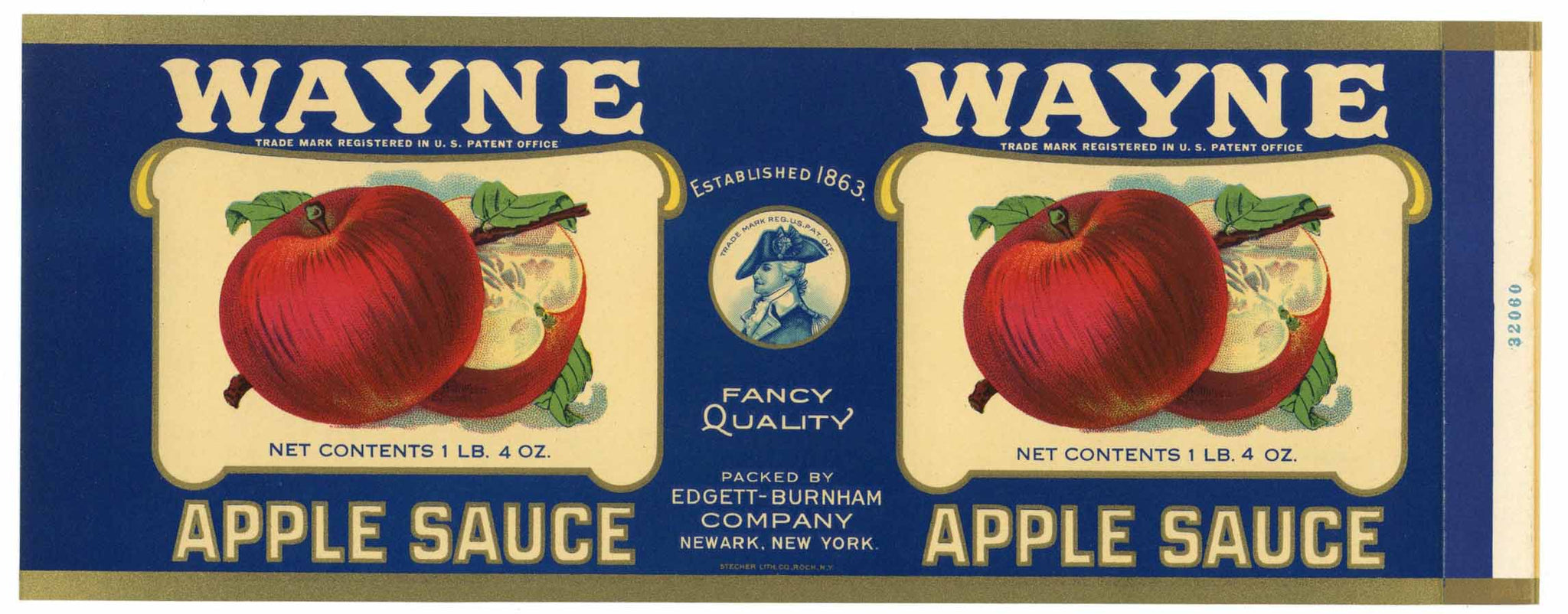 Wayne Brand Vintage Newark New York Apple Sauce Can Label