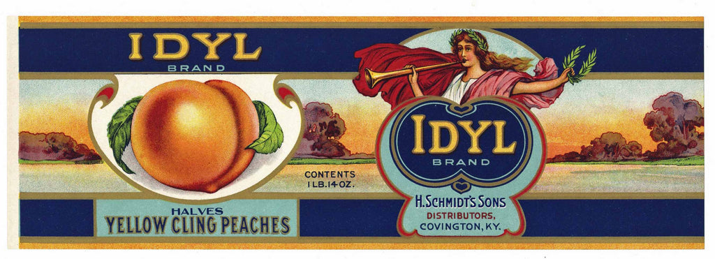 Idyl Brand Vintage Covington Kentucky Peach Can Label