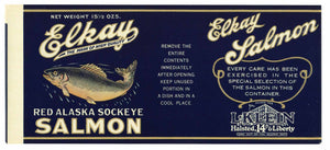 Elkay Brand Vintage Salmon Can Label