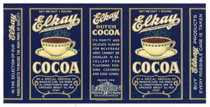 Elkay Brand Vintage Cocoa Can Label