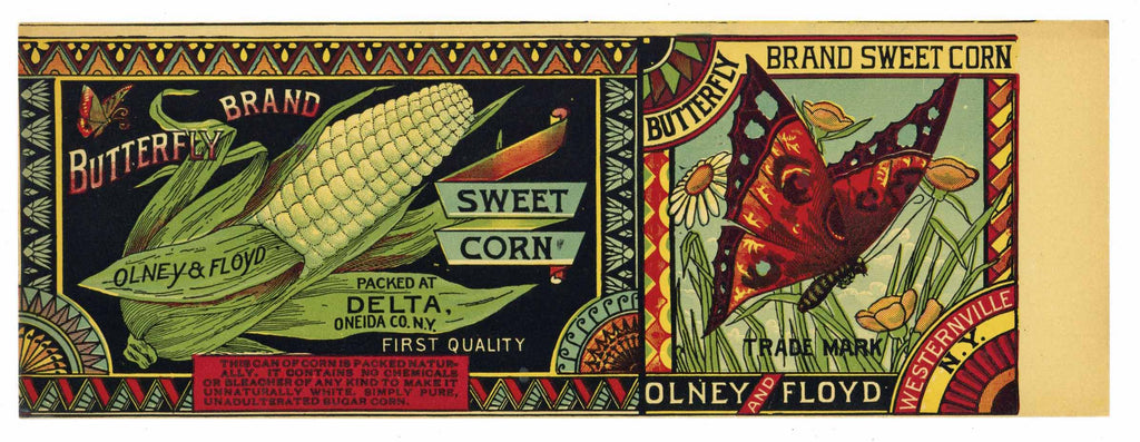 Butterfly Brand Vintage New York Corn Can Label