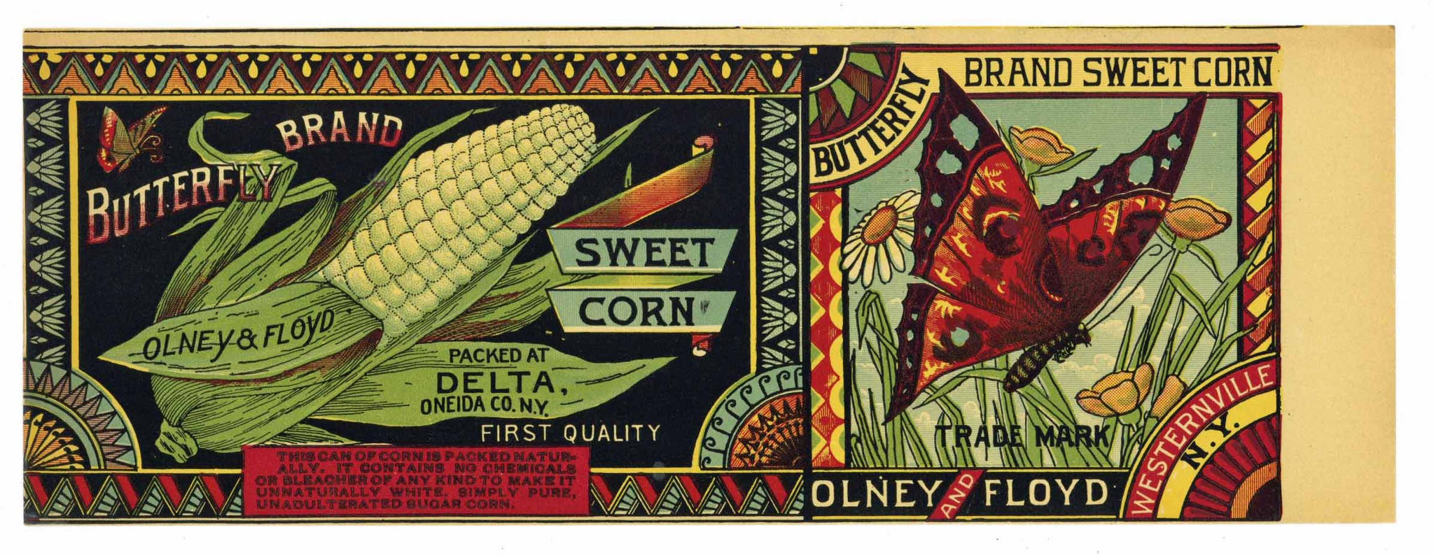 BUTTERFLY Brand Vintage Corn Can Label (CAN777)