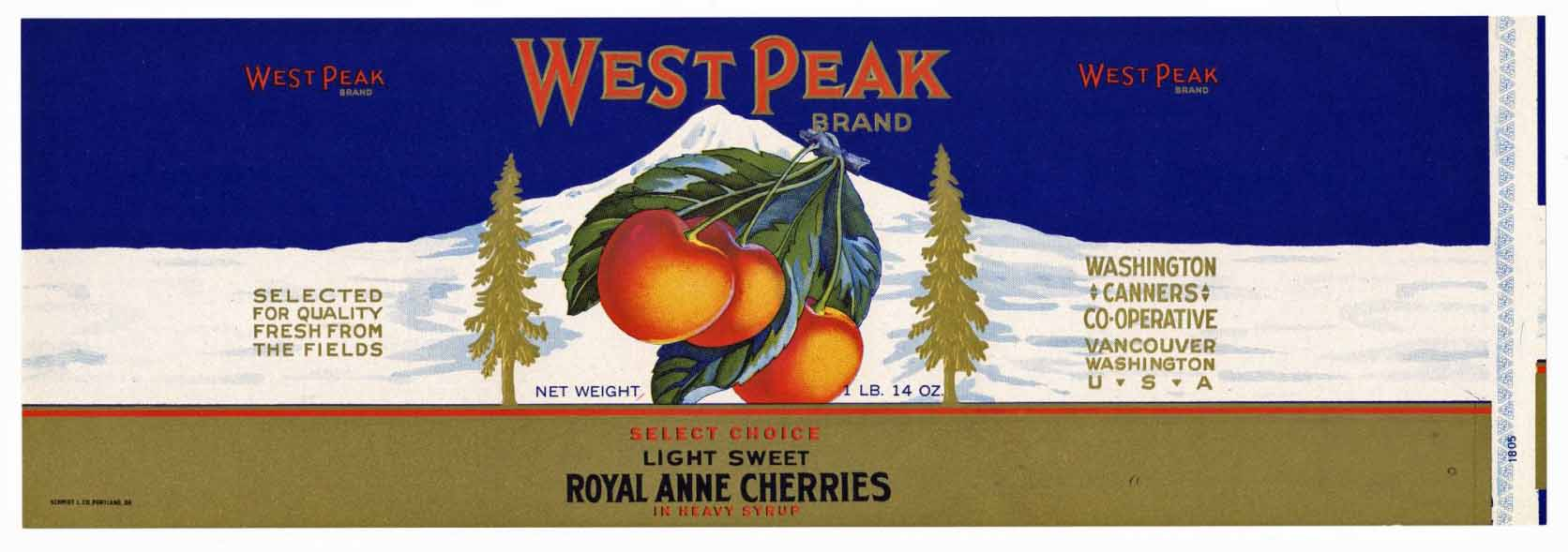 West Peak Brand Vintage Cherry Can Label