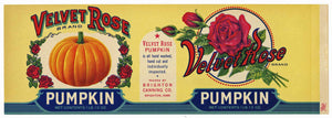 Velvet Rose Brand Vintage Iowa Pumpkin Can Label, L
