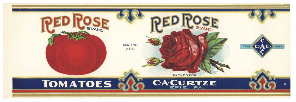 Red Rose Brand Vintage Erie Pennsylvania Tomato Can Label