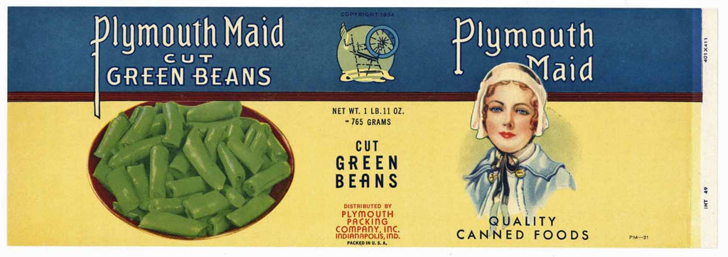 Plymouth Brand Vintage Indianapolis Bean Can Label