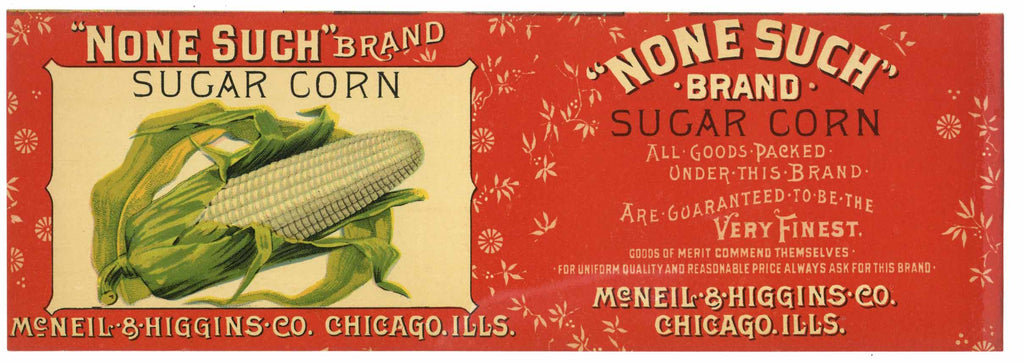 None Such Brand Vintage Sugar Corn Can Label, red