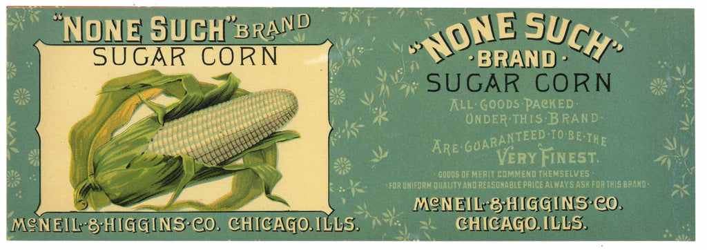 None Such Brand Vintage Sugar Corn Can Label, blue