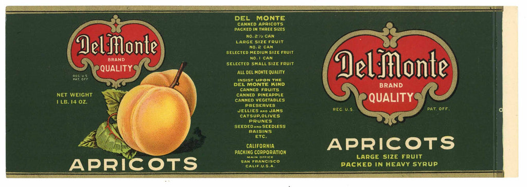 DEL MONTE  Brand Vintage Apricot Can Label, L (CAN806)
