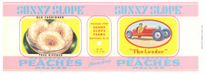 Sunny Slope Brand Vintage Gaffney South Carolina Peach Can Label, reg