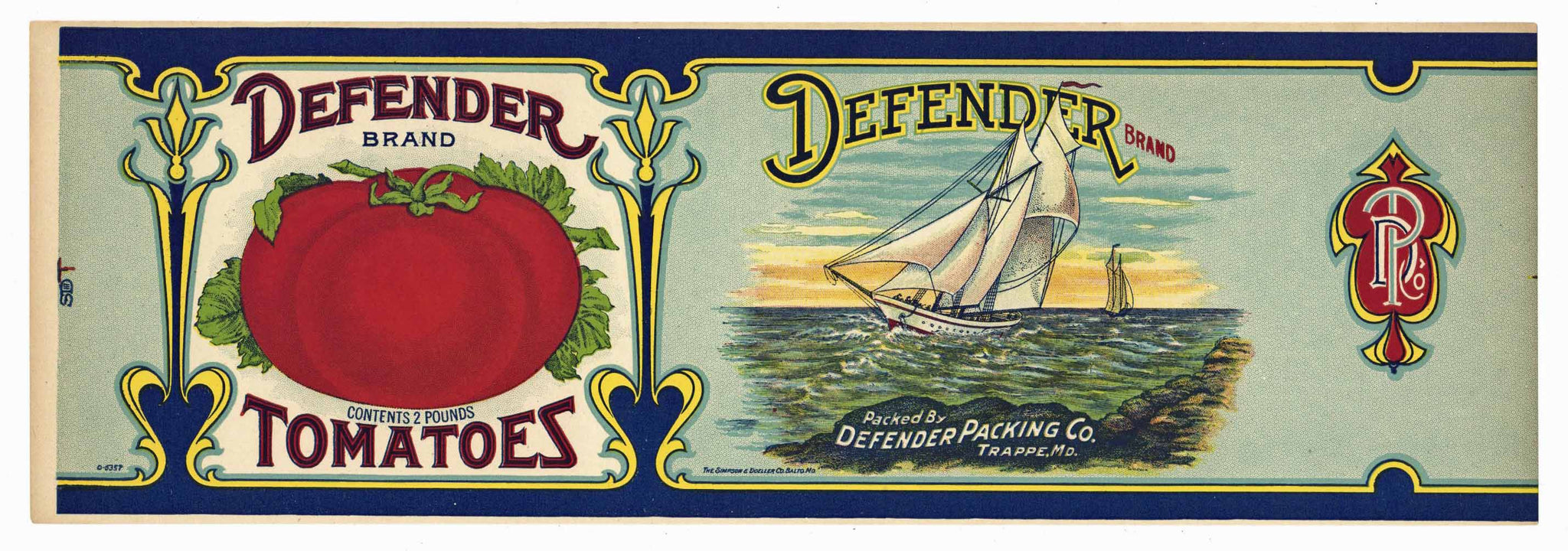 Defender Brand Vintage Maryland Tomato Can Label, blue, large