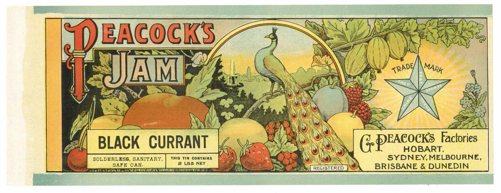 Peacock Brand Vintage Black Currant Jam Can Label
