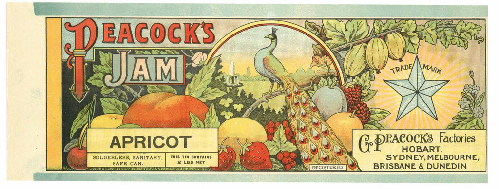 Peacock Brand Vintage Apricot Jam Can Label