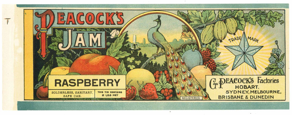Peacock Brand Vintage Raspberry Jam Can Label