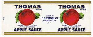 Thomas Brand Vintage Bridgewater Virginia Apple Sauce Can Label