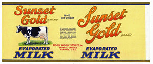 Sunset Gold Brand Vintage Piggly Wiggly Store Milk Can Label