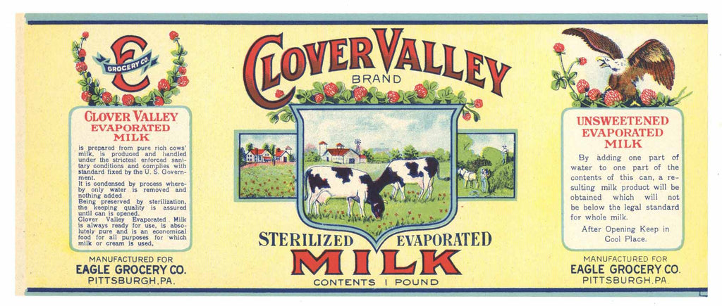 Clover Valley Brand Vintage Pennsylvania Milk Can Label