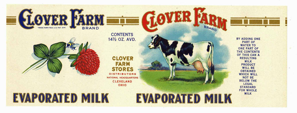 Clover Farm Brand Vintage Ohio Milk Can Label, L