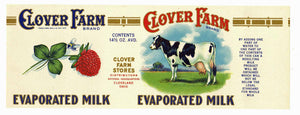 CLOVER FARM Brand Vintage Milk Can Label, L (CAN858)