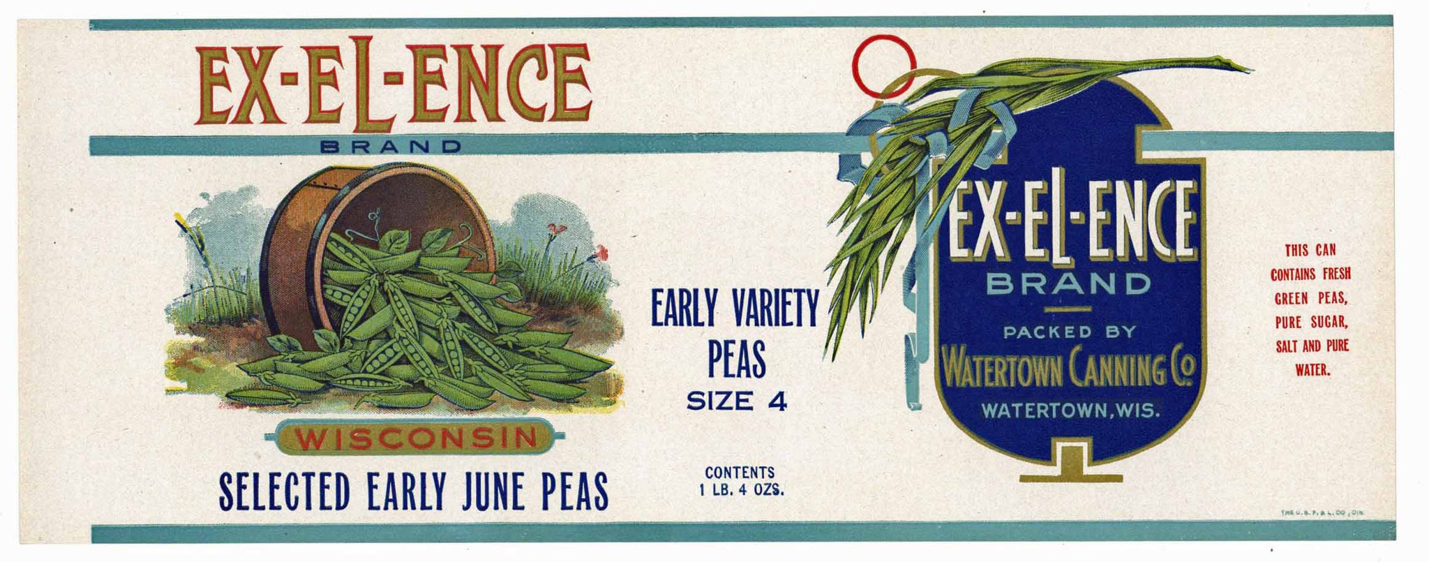 Ex-El-Ence Brand Vintage Watertown Wisconsin Peas Can Label