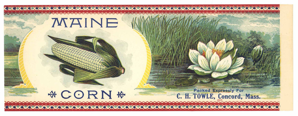 Maine Brand Vintage Corn Can Label, Towle