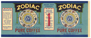 Zodiac Brand Vintage New Orleans Coffee Can Label, bend