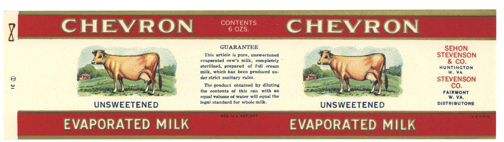 Chevron Brand Vintage Milk Can Label