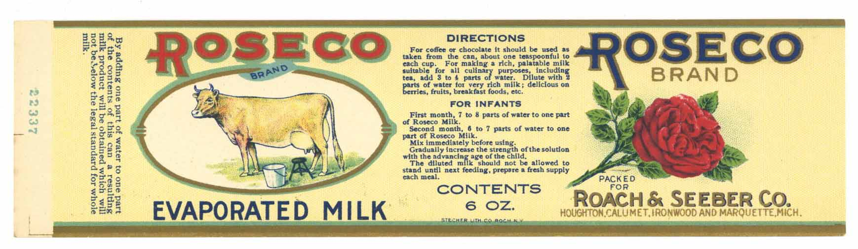 Roseco Brand Vintage Michigan Evaporated Milk Can Label, small