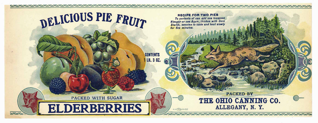 Delicious Pie Fruit Brand Vintage Berry Can Label
