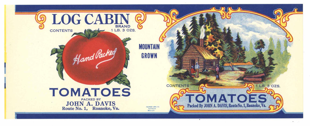 Log Cabin Brand Vintage Virginia Tomato Can Label