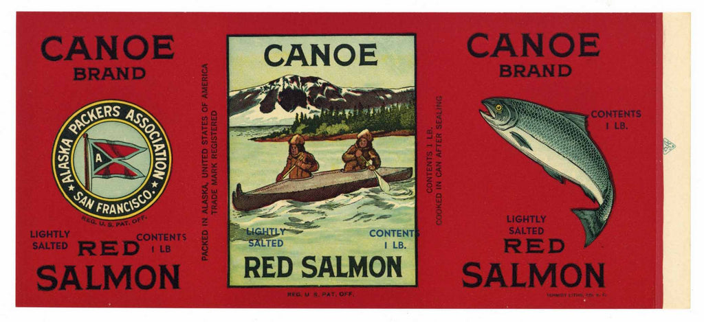 Canoe Brand Vintage Alaska Packers Salmon Can Label