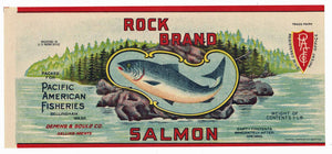 Rock Brand Vintage Bellingham Washington Salmon Can Label