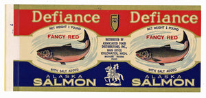 Defiance Brand Vintage Salmon Can Label