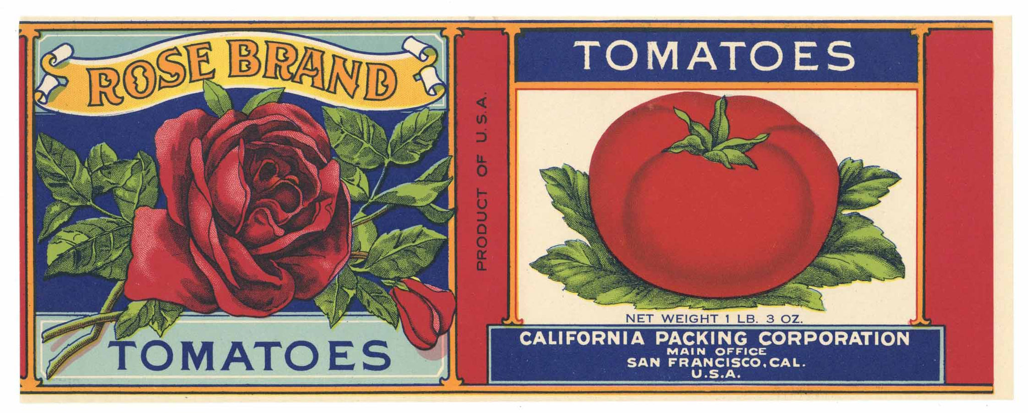 Rose Brand Vintage Tomato Can Label