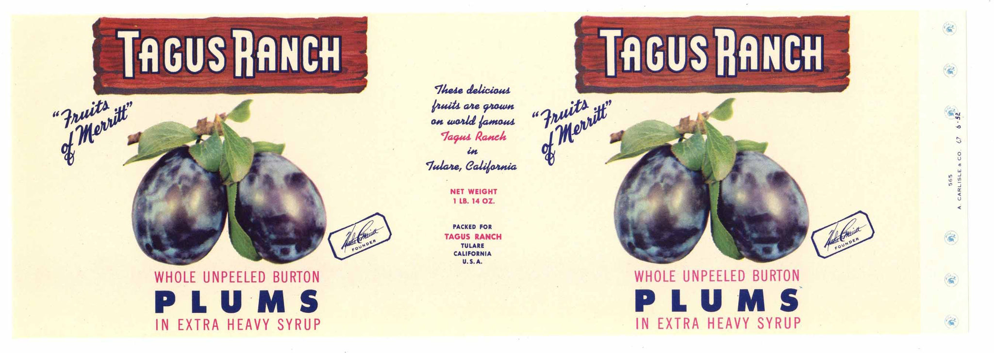 Tagus Ranch Brand Vintage Tulare Plum Can Label