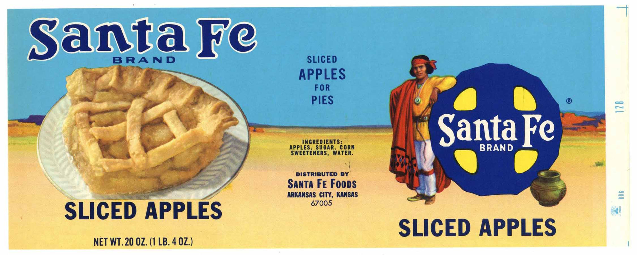 Santa Fe Brand Vintage Arkansas City Kansas Sliced Apples Can Label