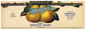Minton's Brand Vintage Forest Grove Oregon Pear Can Label