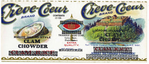 Creve-Coeur Brand Vintage Clam Chowder Can Label, half clam