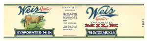 Weis Brand Vintage Milk Can Label