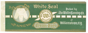 White Seal Brand Vintage Williamstown New York Corn Can Label