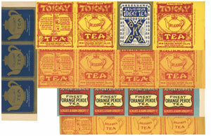 Tea Label Set of 5 Vintage Labels, New Orleans, Montgomery