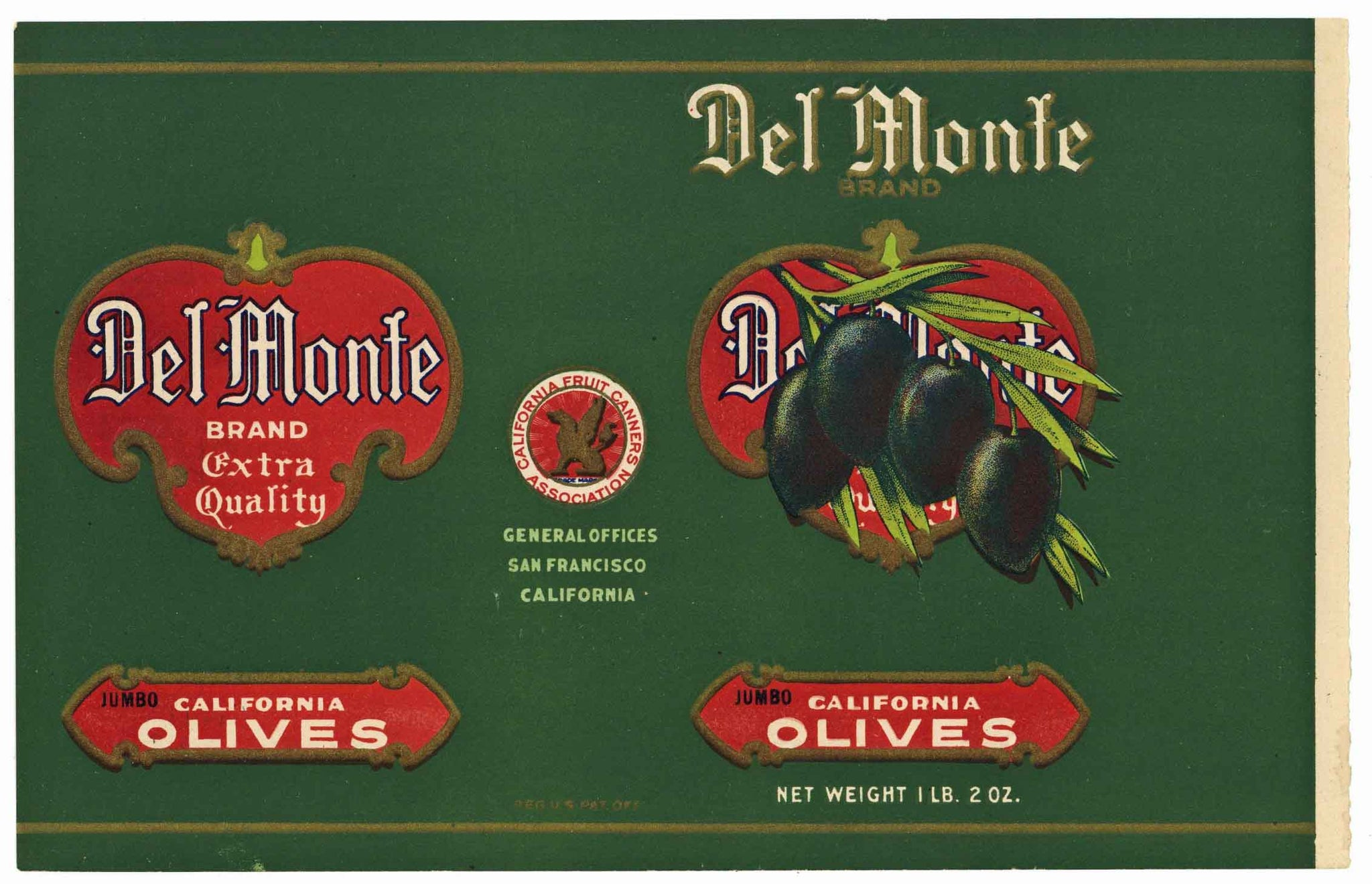 Del Monte Brand Vintage Jumbo Olives Can Label, 1910s