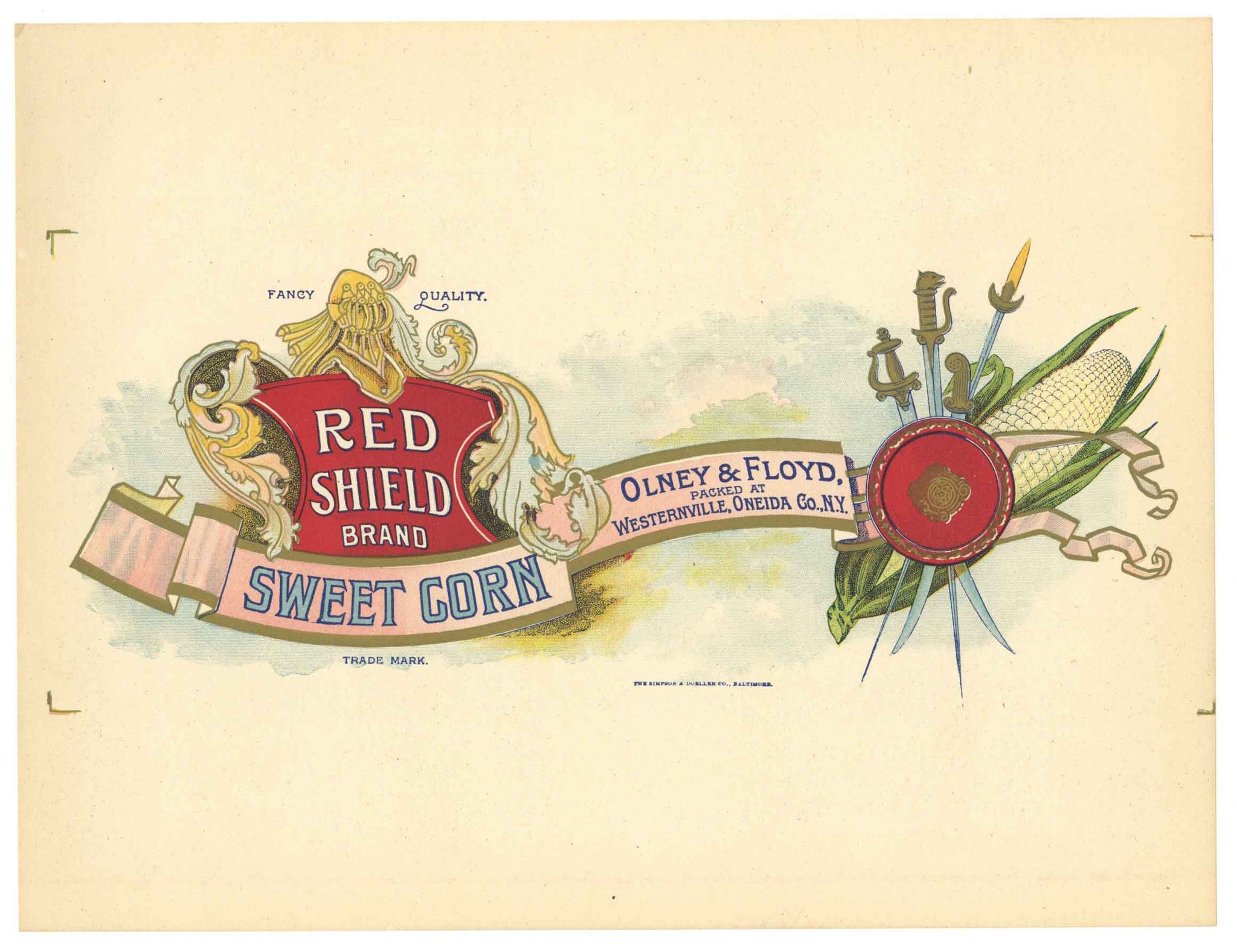 Red Shield Brand Vintage Sweet Corn Can Label