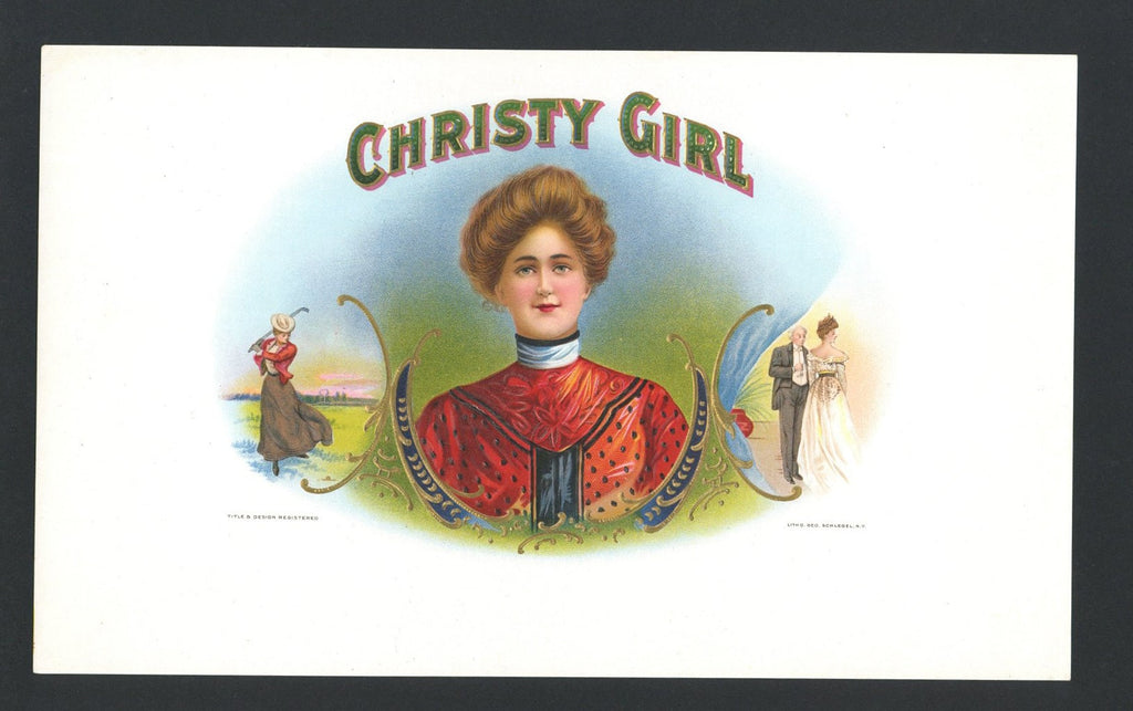 Christy Girl Brand Inner Cigar Box Label, blank