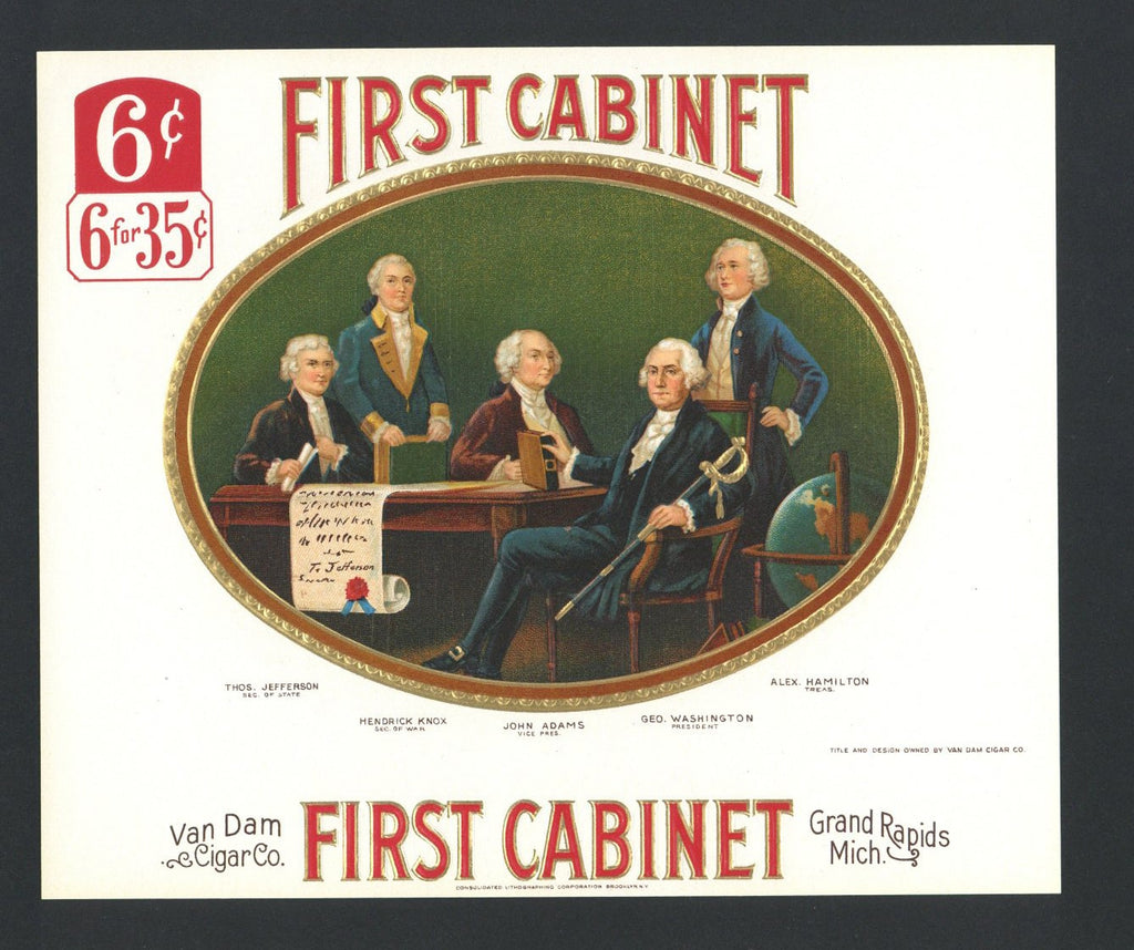 FIRST CABINET Brand Inner Cigar Box Label (CIG025)